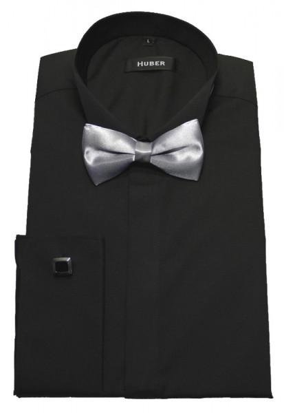 Smoking Hemd schwarz bügelleicht von HUBER +Fliege