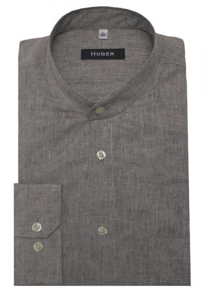HUBER Stehkragen Leinen Hemd braun beige Halbleinen HU-0433 Regular