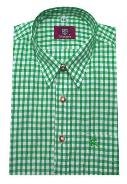 Orbis Trachten Hemd trachten-grün weiß kariert Langarm Kent OS-0065 Regular Fit