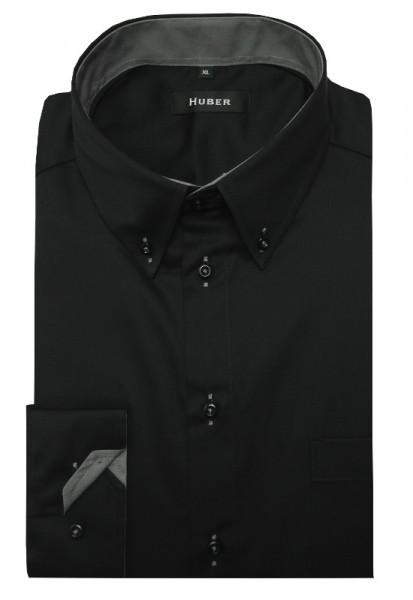 HUBER Hemd mit Button-down-Kragen schwarz-grau Regular HU-0440