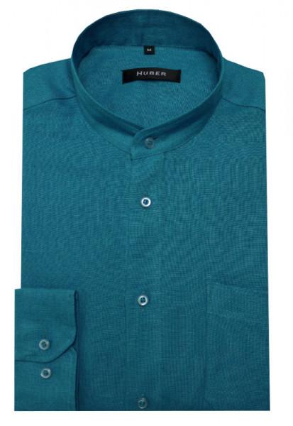 HUBER Stehkragen Leinen Hemd türkis petrol blau HU-0039 Regular