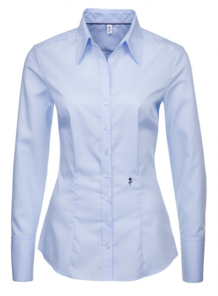 Damen Bluse blau bügelfrei Seidensticker Schwarze Rose Slim Line