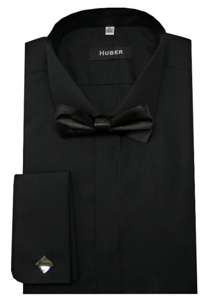 HUBER Smoking Hemd schwarz inkl. Fliege schwarz HU-3352 Slim Fit
