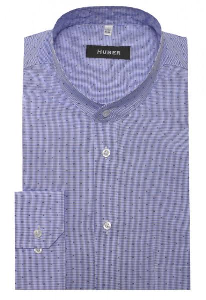 HUBER Stehkragen Hemd weiß blau kariert HU-0088 Regular