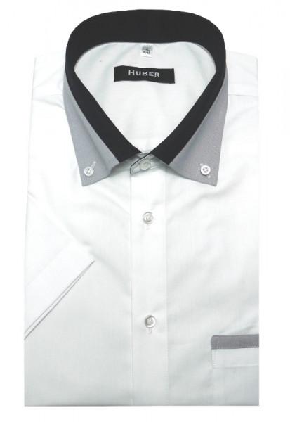 HUBER Kurzarm Hemd weiß mit Kontrast Button-down-Kragen HU-0151 Regular