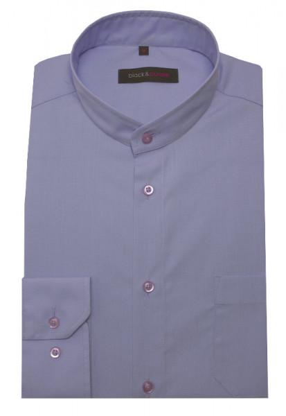 HUBER Stehkragen Hemd flieder Label Black & Purple Regular Fit HU-0656