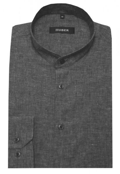 HUBER Stehkragen Leinen Hemd grau Halbleinen HU-0432 Regular