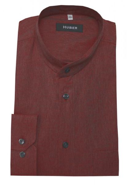 Stehkragen Hemd rot-ton von HUBER weiche Baumwolle