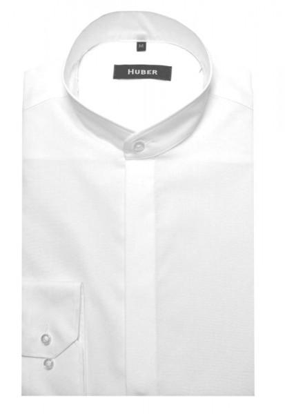 HUBER Stehkragen Hemd weiß verdeckte Leiste HU-0001 Regular