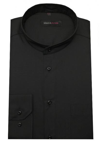 Stehkragen Hemd schwarz bügelleicht BP-0023 Regular Fit