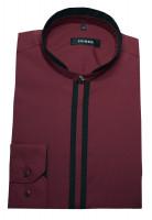 Stehkragen Hemd rot weinrot-schwarz von HUBER