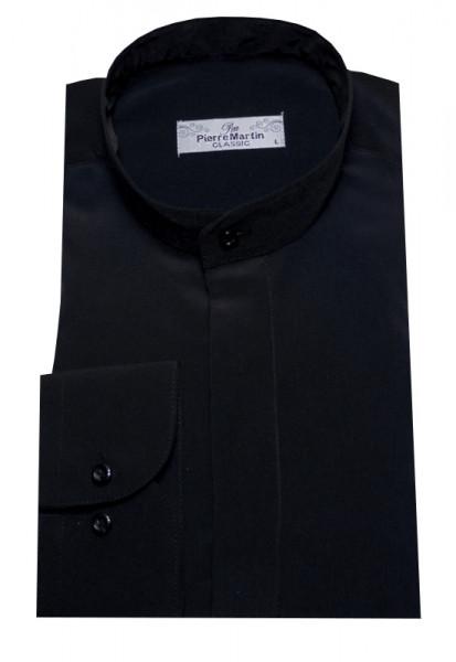 Stehkragen Hemd schwarz verdeckte Leiste DP-0002 Regular Fit