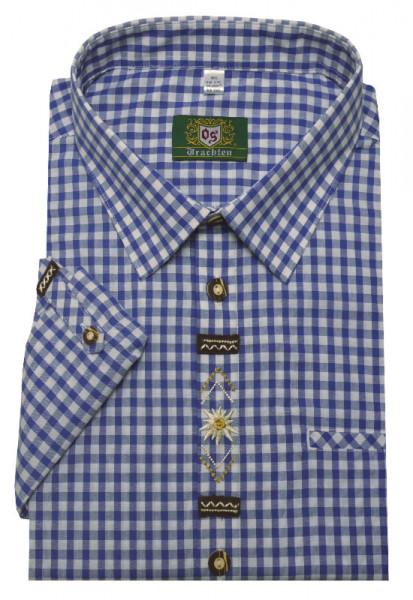 Orbis Trachtenhemd blau weiß mit Stickerei Krempelarm OS-0361 Regular Fit