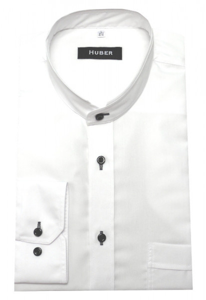 HUBER Stehkragen Hemd weiß HU-0456 Regular Fit