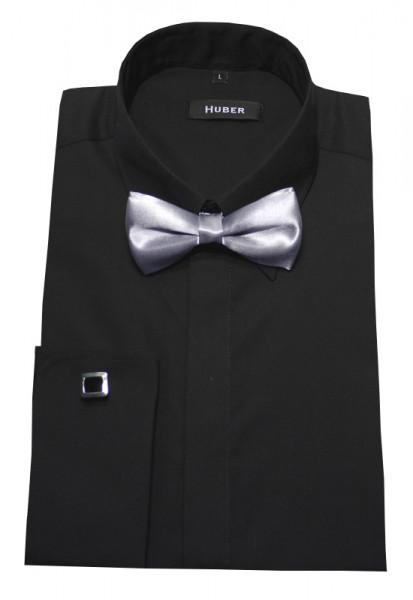 HUBER Umschlag-Manschetten Hemd schwarz +Fliege HU-1362 Slim Fit
