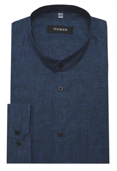 HUBER Stehkragen Hemd Leinen marine blau HU-0041 Regular