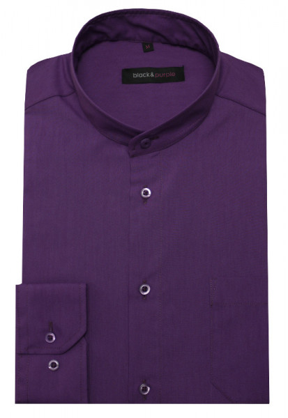 Stehkragen Hemd lila bügelleicht BP-0042 Regular Fit