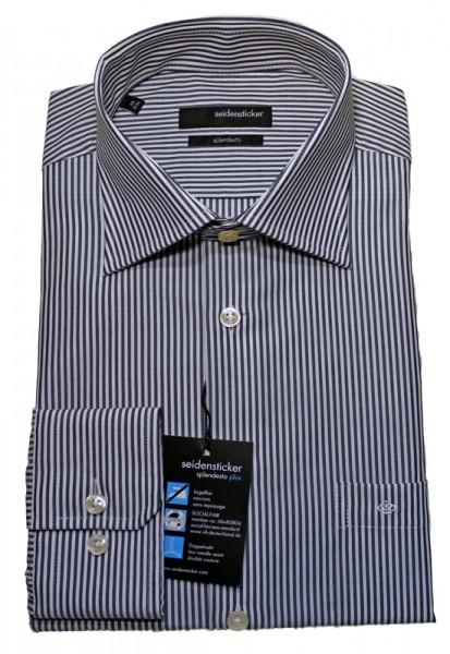 Seidensticker Hemd grau weiß gestreift bügelfrei Langarm SP-0052 Modern Fit