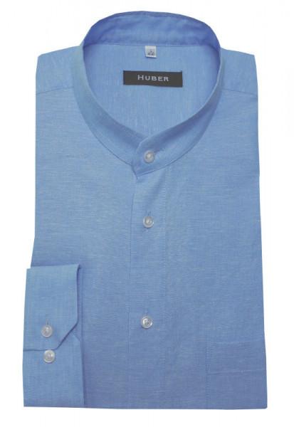 Stehkragen Leinen Hemd hell-blau von HUBER Leinenmischung Halbleinen