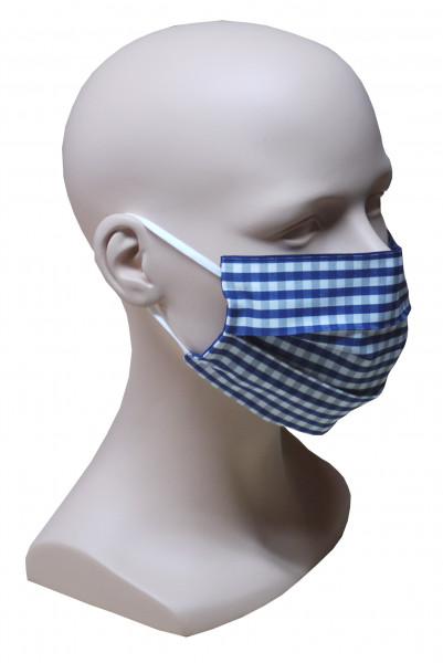 Gesicht Mund Nase Maske blau weiß kariert feiner Stoff 2-lagig waschbar HU-7027