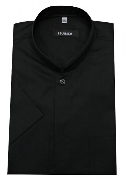 HUBER Stehkragen Kurzarm Hemd schwarz Asia Japan Kragen HU-0592 Regular Fit