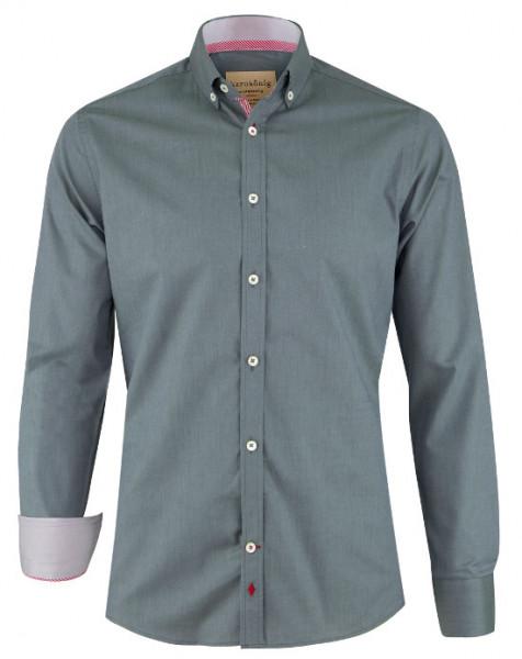 Karokönig Hemd grau-grün Bio-Baumwolle zertifiziert KK-0004 Regular tailliert