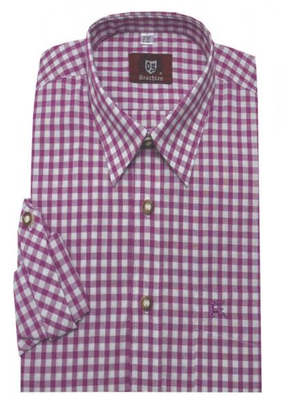 Orbis Trachtenhemd pink rotton kariert Krempelarm OS-0070 Regular Fit