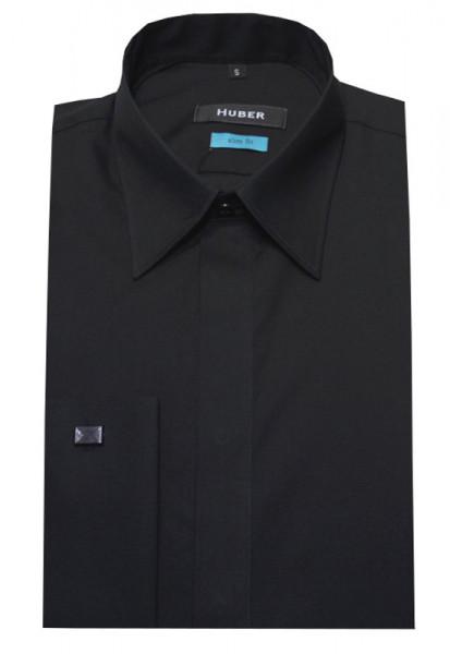 HUBER Umschlag-Manschetten Hemd schwarz Slim Fit HU-0362