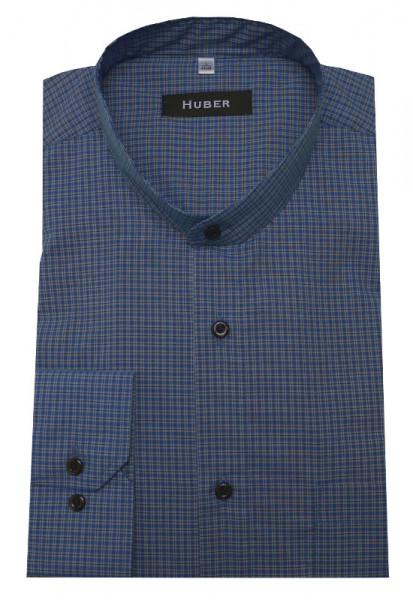 HUBER Stehkragen Hemd blau weiß kariert HU-0452 Regular Fit