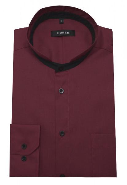 HUBER Stehkragen Hemd rot Kontrast schwarz HU-0455 Regular
