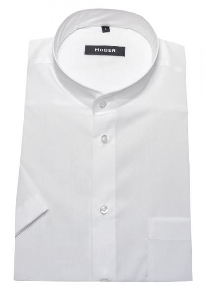 Stehkragen Hemd weiß Kurzarm von HUBER bügelleichte Baumwolle