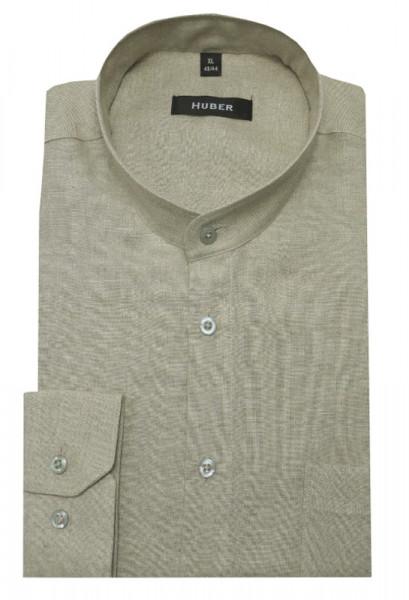 HUBER Stehkragen Leinen Hemd beige natur HU-0045 Regular