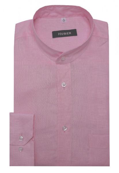 HUBER Stehkragen Hemd rosa 100% Leinen Nachhaltige Naturfaser HU-0462 Regular