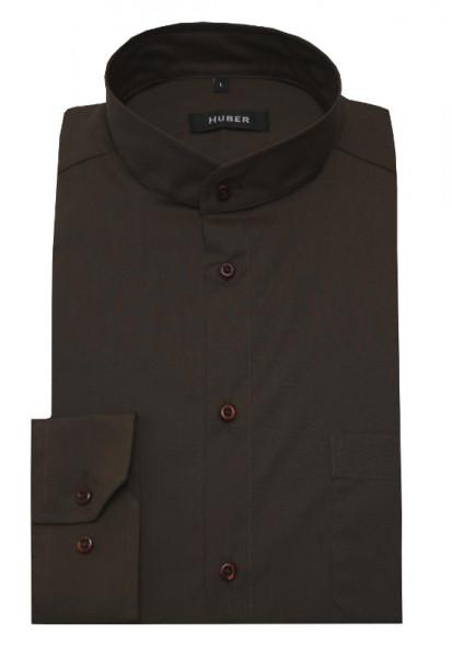 HUBER Stehkragen Hemd braun Regular Fit bügelleicht HU-0659