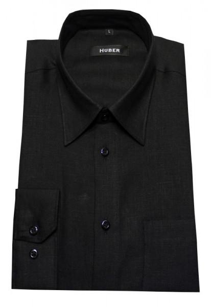 Leinen Hemd schwarz von HUBER Kent-Kragen