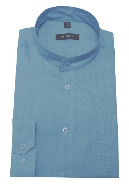 Stehkragen Leinen Hemd hellblau blau von HUBER