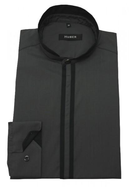 Stehkragen Hemd grau-schwarz von HUBER
