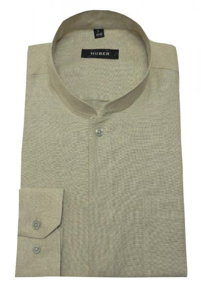 HUBER Stehkragen Hemd beige 100% Leinen Asia Kragen HU-573 Regular
