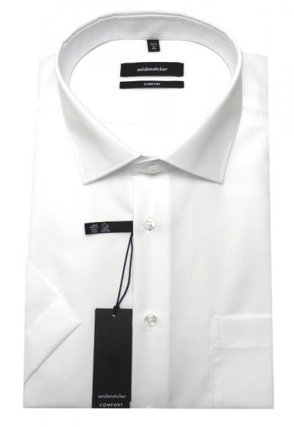 Seidensticker Hemd Kurzarm weiß Schwarze Rose bügelfrei SC-0101 Comfort Fit