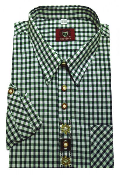 Orbis Trachtenhemd khaki grün-weiß mit Stickerei Krempelarm OS-0108 Regular Fit