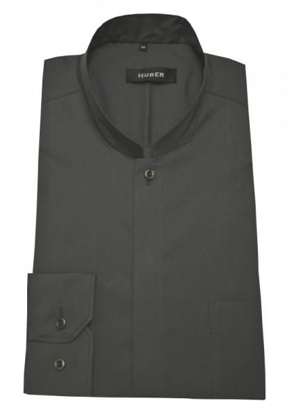 Stehkragen Hemd grau von HUBER Asia-Kragen bügelleicht