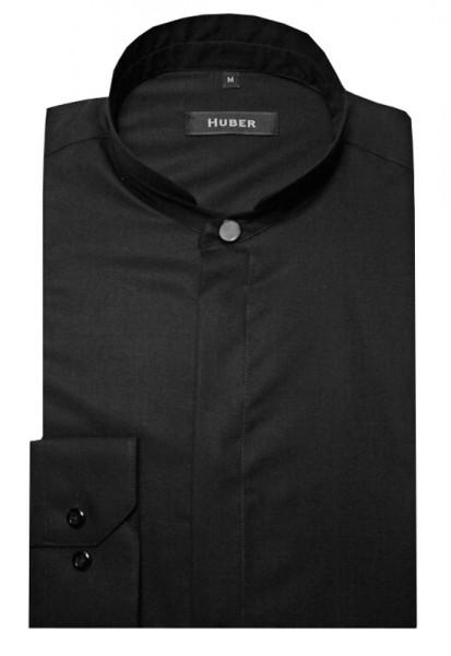 HUBER Hemd hoher Stehkragen schwarz HU-0075 Regular