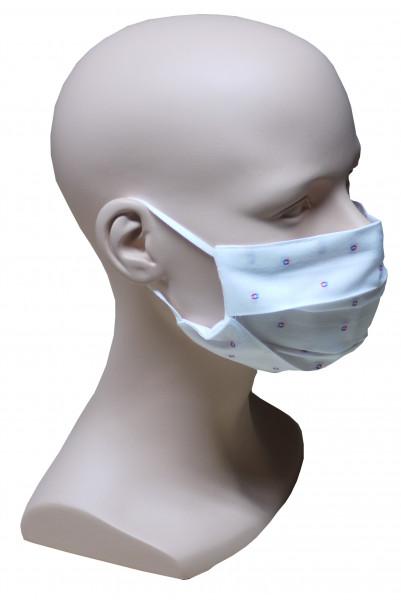 Gesicht Mund Nase Maske weiß rot blau feiner Stoff 2-lagig waschbar HU-7031