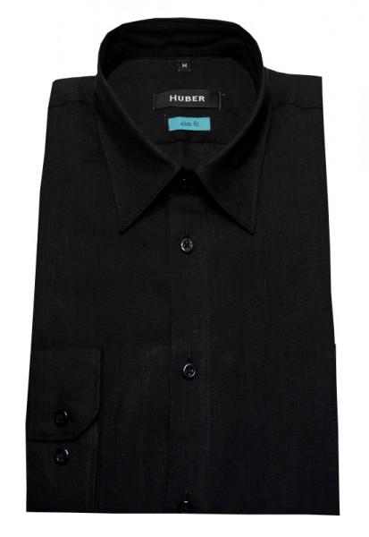 Leinen Hemd schwarz Kent-Kragen Slim Fit von HUBER