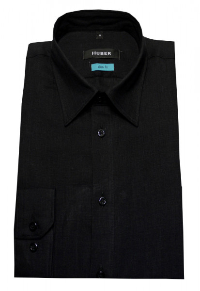 HUBER Leinen Hemd schwarz HU-0372 Sim Fit