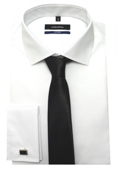 Seidensticker Umschlag-Manschetten Hemd weiß inkl. Krawatte u. Mansch.knöpfe SR-2020 Shaped