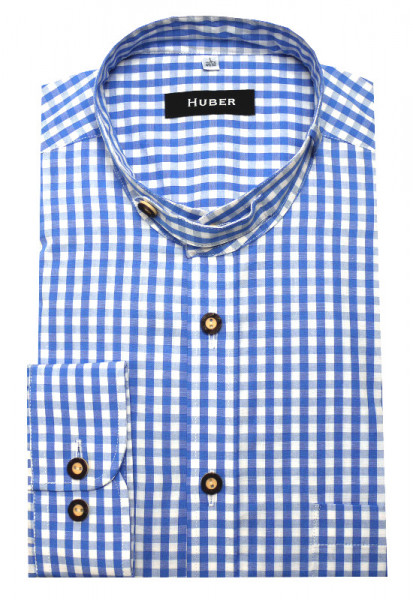 HUBER Trachtenhemd Stehkragen blau Krempelarm HU-0723 Regular