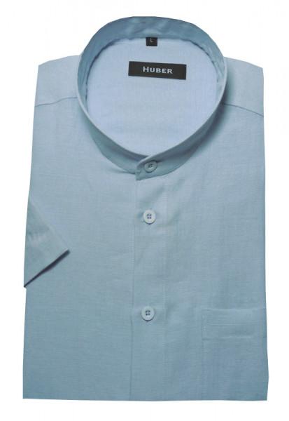 Stehkragen Leinen Hemd tauben-blau Kurzarm von HUBER