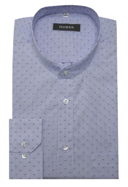 HUBER Stehkragen Hemd weiß blau gestreift HU-0078 Regular Fit