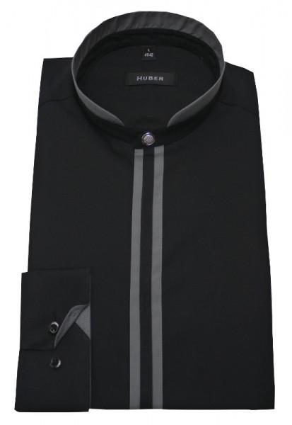 Stehkragen Hemd schwarz mit Kontrast grau von HUBER
